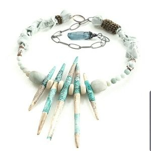 Artisan Handcraft Polymer Aqua Spikes Bib Necklace